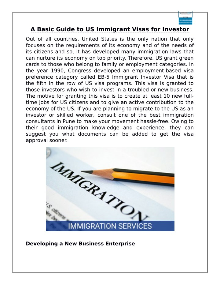 a basic guide to us immigrant visas for investor n.