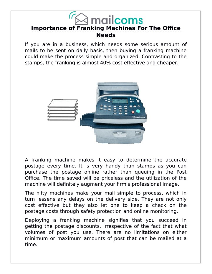 importance of franking machines for the office n.