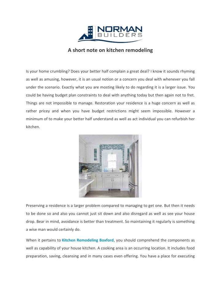 a short note on kitchen remodeling n.