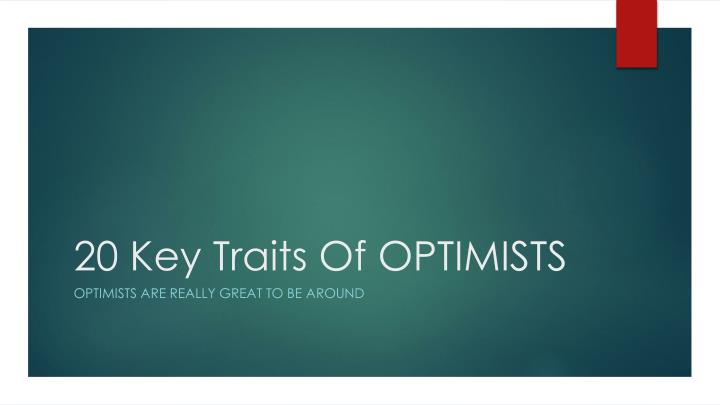 20 key traits of optimists n.