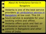 about air ambulance service in bangalore