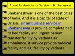 about air ambulance service in bhubaneswar