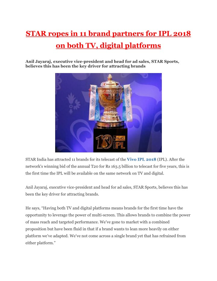 star ropes in 11 brand partners for ipl 2018 n.