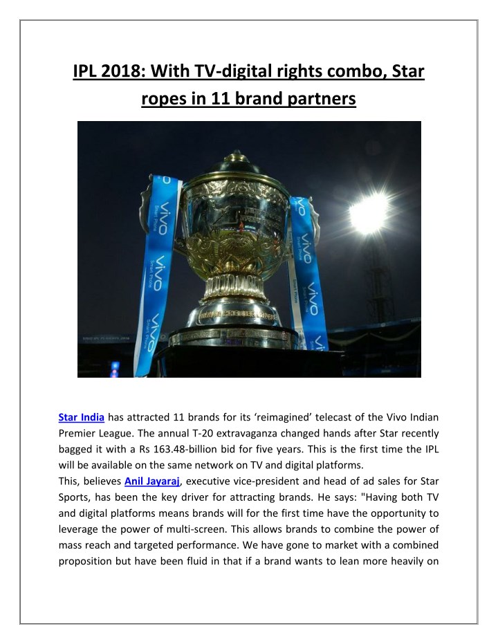 ipl 2018 with tv digital rights combo star ropes n.
