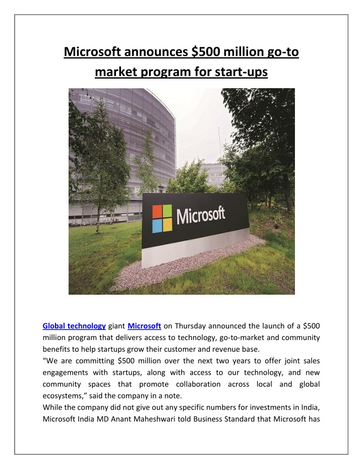 microsoft announces 500 million go to market n.