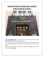 larsen toubro s construction unit gets orders
