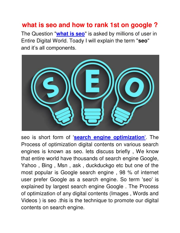 what is seo and how to rank 1st on google n.