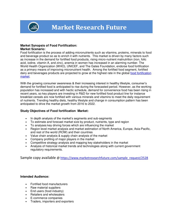 market synopsis of food fortification market n.