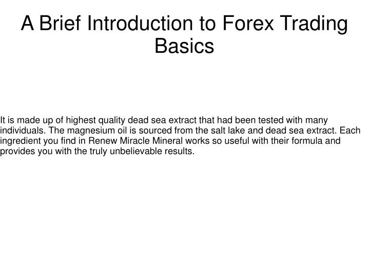 a brief introduction to forex trading basics n.