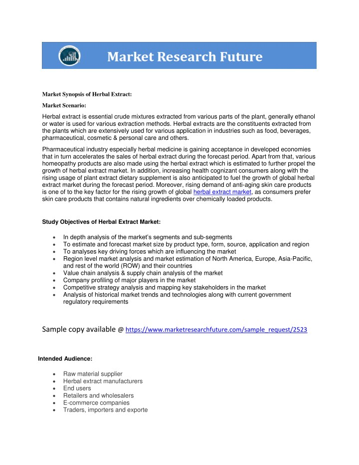 market synopsis of herbal extract n.