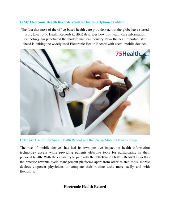 is my electronic health records available n.
