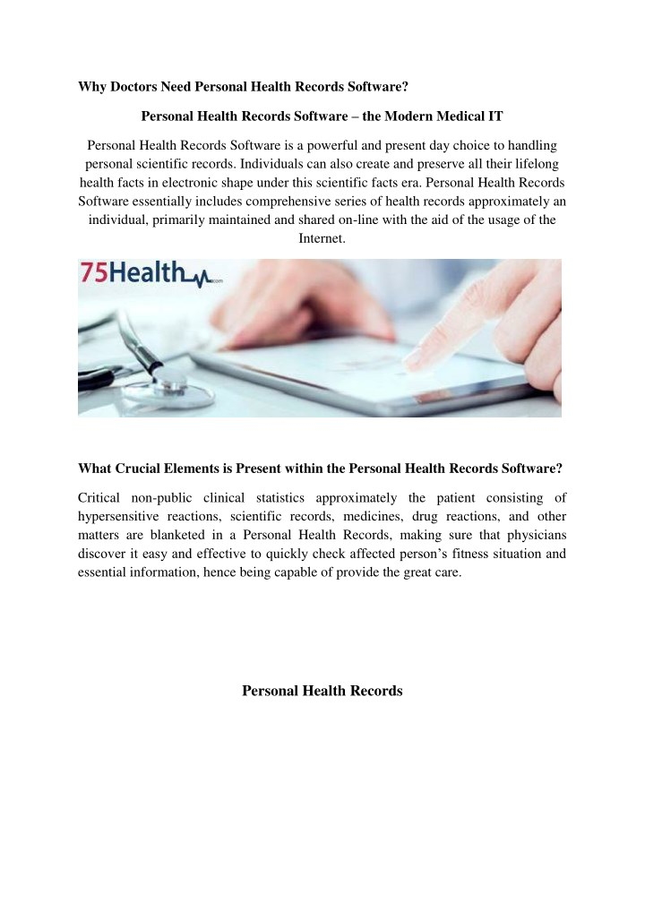 why doctors need personal health records software n.