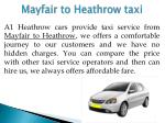 mayfair to heathrow taxi