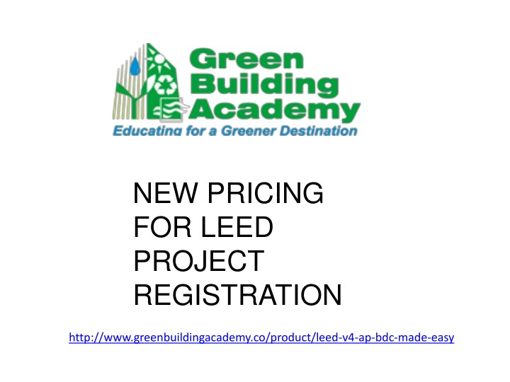 new pricing for leed project registration n.