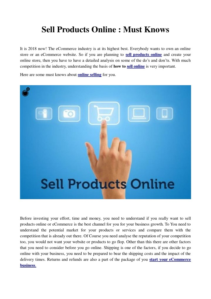 sell products online must knows n.