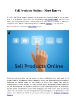 sell products online must knows