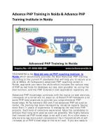advance php training in noida advance