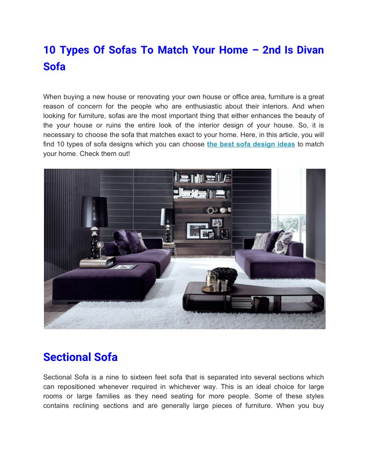 10 types of sofas to match your home 2nd is divan n.