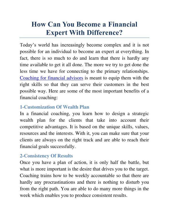 how can you become a financial expert with n.