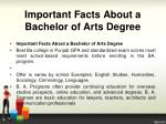 important facts about a bachelor of arts degree