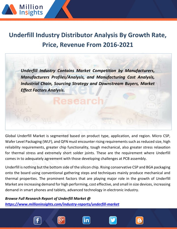 underfill industry distributor analysis by growth n.