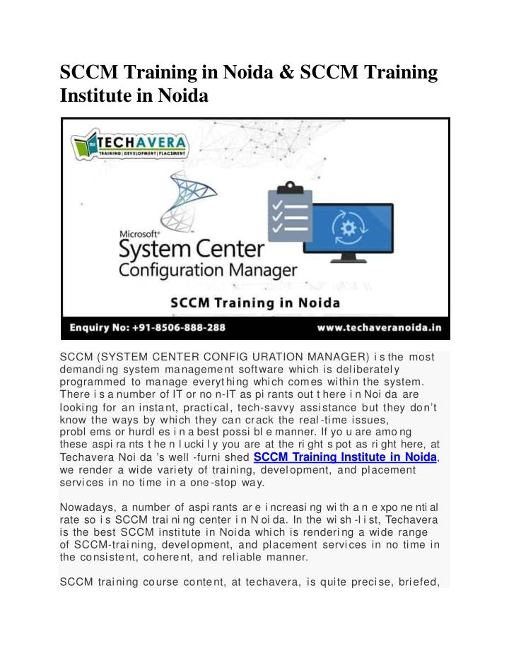 sccm training in noida sccm training institute in noida n.