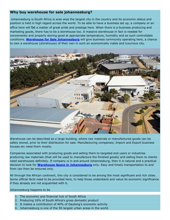 why buy warehouse for sale johannesburg n.