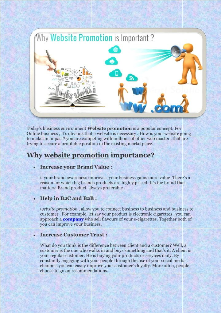 today s business environment website promotion n.