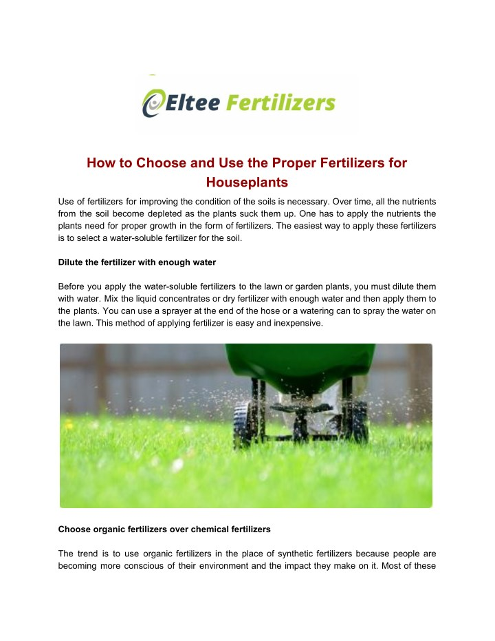 how to choose and use the proper fertilizers n.