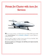 private jet charter with aero jet private