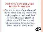 points to consider when buying earphones