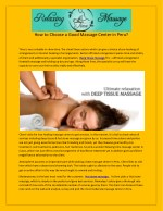 how to choose a good massage center in peru