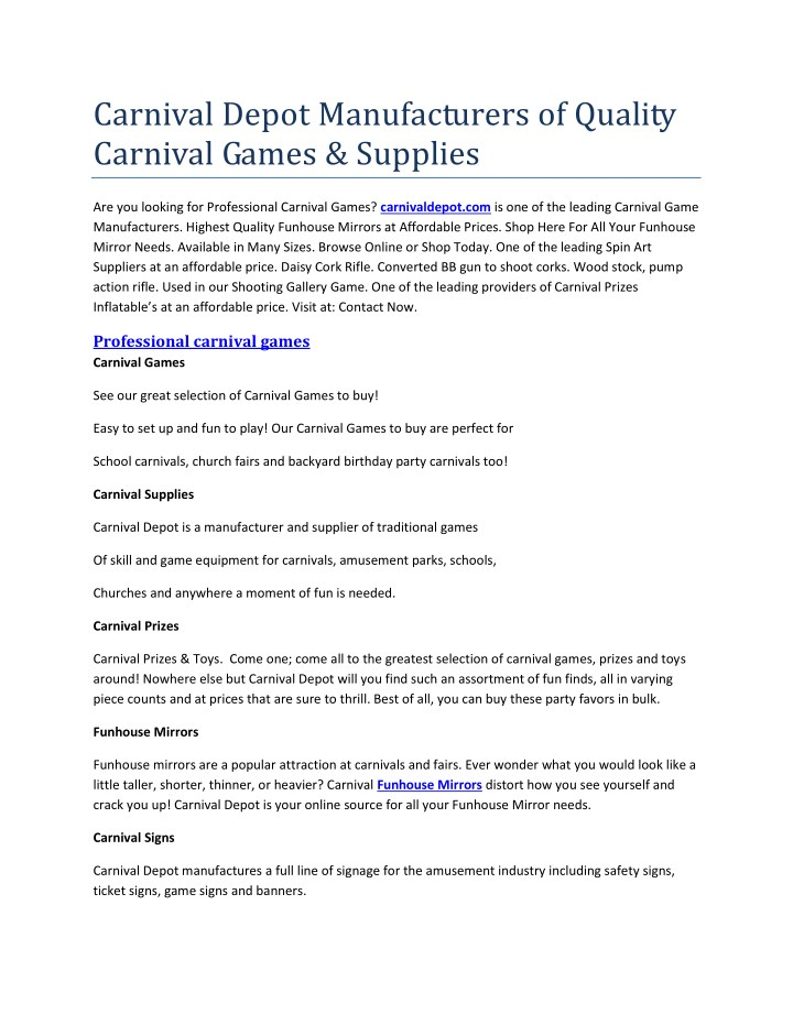 carnival depot manufacturers of quality carnival n.