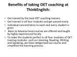 benefits of taking oet coaching at thinkenglish
