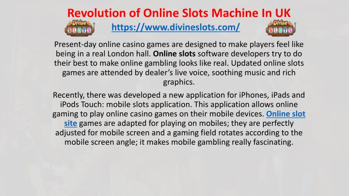 revolution of online slots machine in uk n.