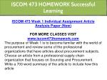 iscom 473 homework successful learning 3
