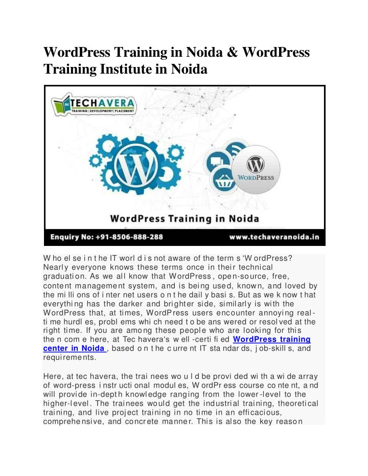 wordpress training in noida wordpress training institute in noida n.