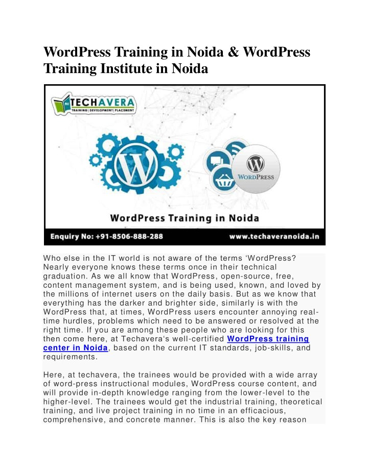 wordpress training in noida wordpress training n.