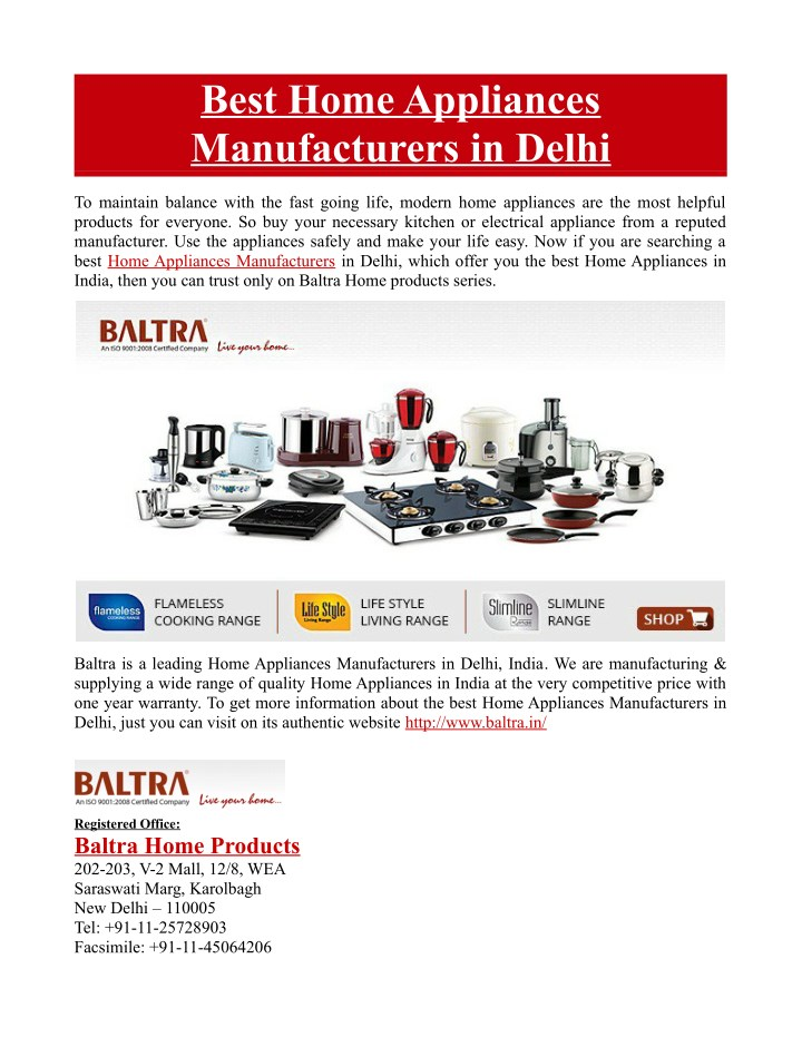 best home appliances manufacturers in delhi n.