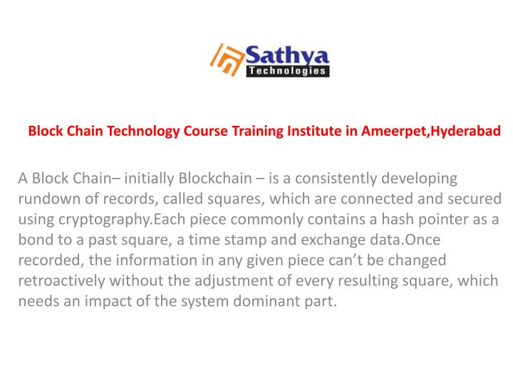 block chain technology course training institute n.