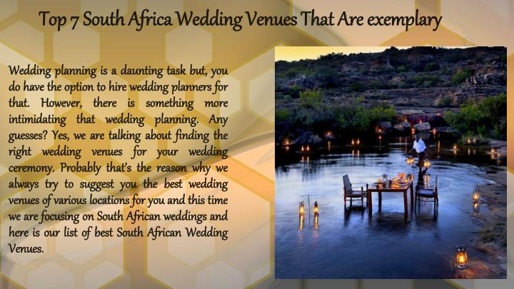 top 7 south africa wedding venues that are exemplary n.