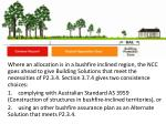 where an allocation is in a bushfire inclined