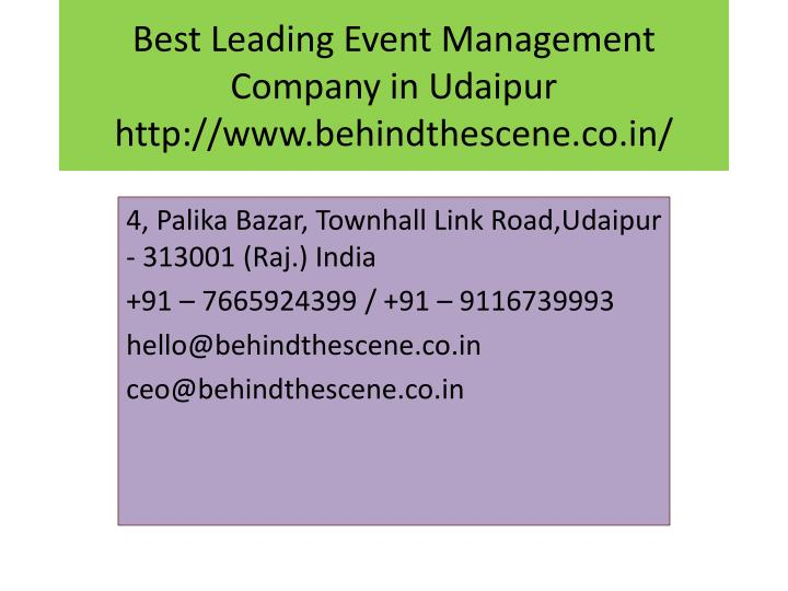 best leading event management company in udaipur http www behindthescene co in n.