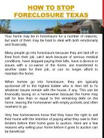 how to stop foreclosure texas