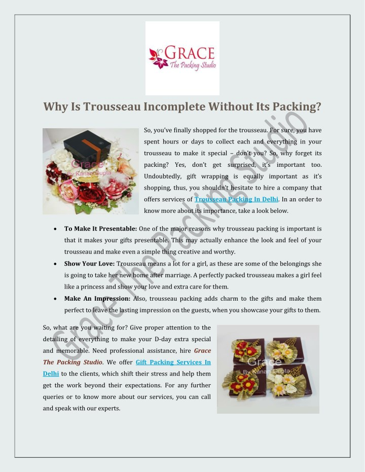 why is trousseau incomplete without its packing n.