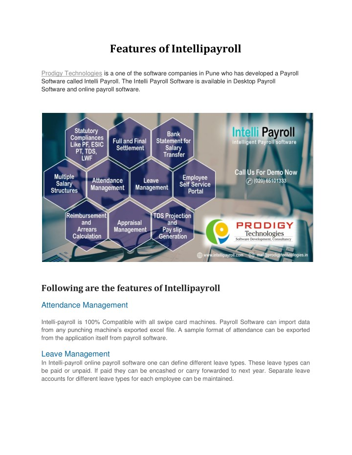 features of intellipayroll n.