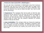 criteria for best locksmith in washington
