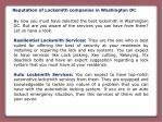 reputation of locksmith companies in washington dc