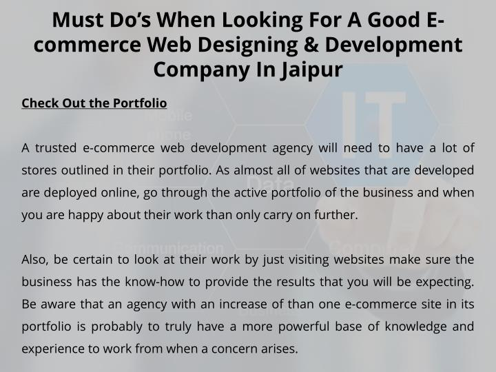 must do s when looking for a good e commerce n.