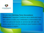 do you need birthday party decorations melbourne